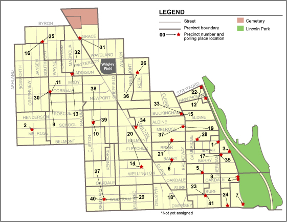 Map of 44th Ward Precincts and Polling Places